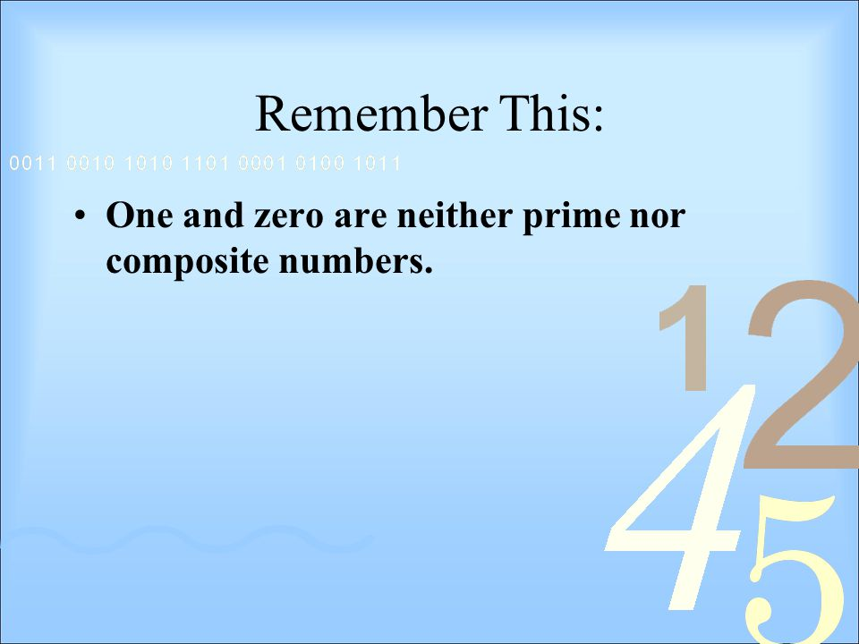 Remember This: One and zero are neither prime nor composite numbers.