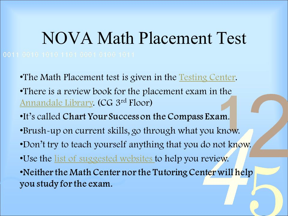 NOVA Math Placement Test The Math Placement test is given in the Testing Center.Testing Center There is a review book for the placement exam in the Annandale Library.