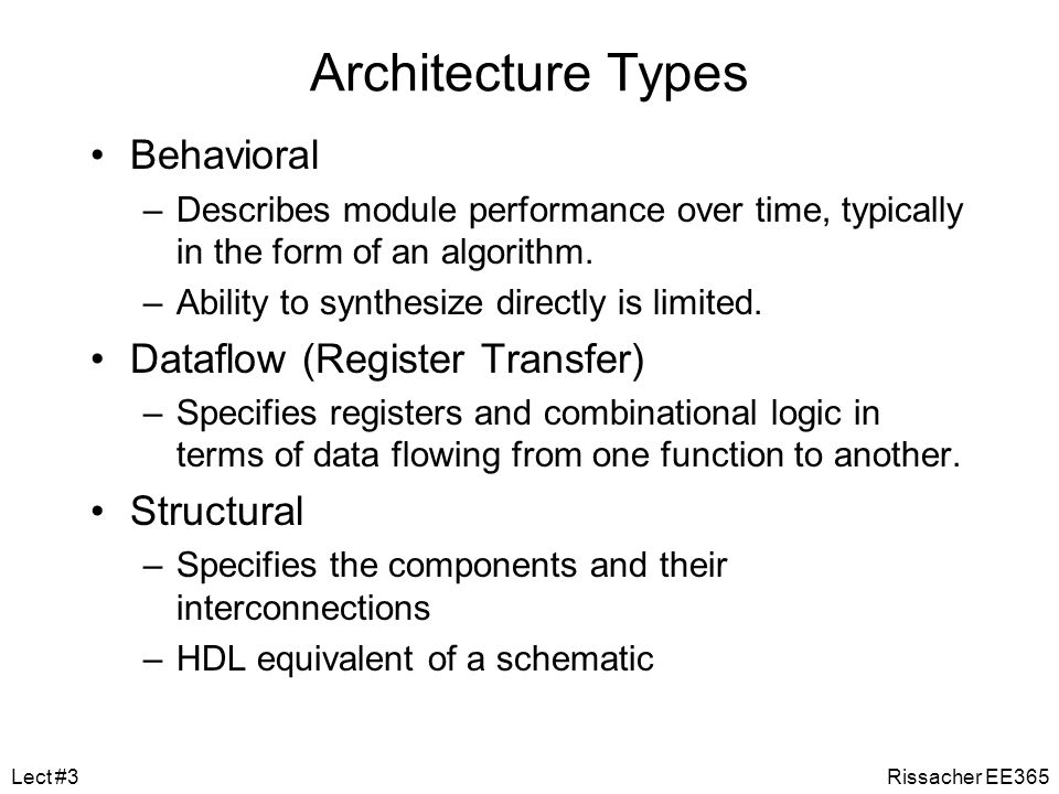 Levels of Abstraction An important characteristic of VHDL that is not shared by earlier, PLD type languages (such as ABEL, CUPL, etc.) is the ability