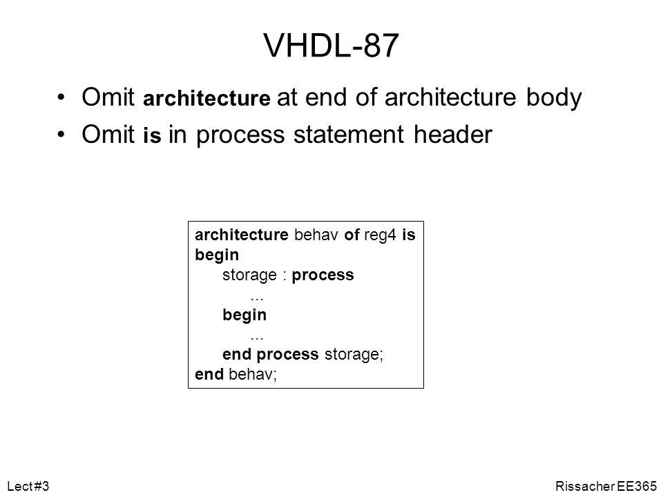 Behavior Example architecture behav of reg4 is begin storage : process is variable stored_d0, stored_d1, stored_d2, stored_d3 : bit; begin if en = 1 and clk = 1 then stored_d0 := d0; stored_d1 := d1; stored_d2 := d2; stored_d3 := d3; end if; q0 <= stored_d0 after 5 ns; q1 <= stored_d1 after 5 ns; q2 <= stored_d2 after 5 ns; q3 <= stored_d3 after 5 ns; wait on d0, d1, d2, d3, en, clk; end process storage; end architecture behav; Rissacher EE365Lect #3