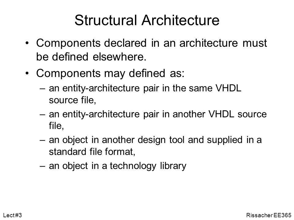 Modeling Structure Structural architecture –implements the module as a composition of subsystems –contains signal declarations, for internal interconn