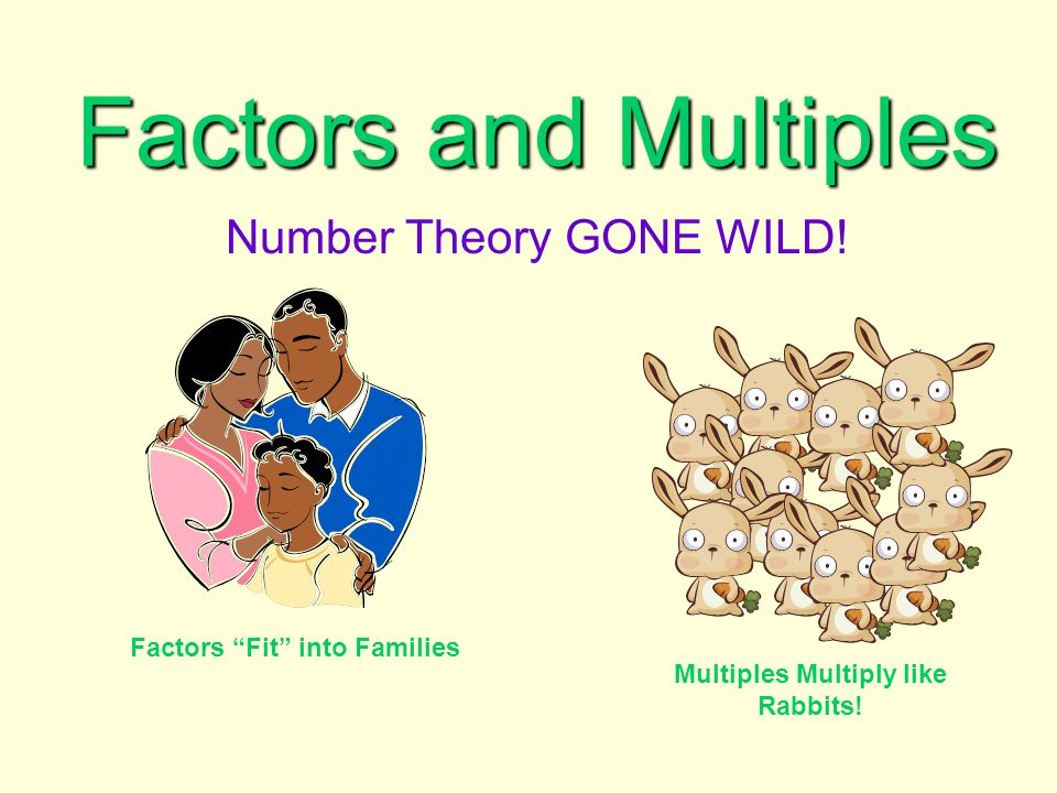 "Factors and Multiples Number Theory GONE WILD! Factors ""Fit"" into Families Multiples Multiply like Rabbits!"