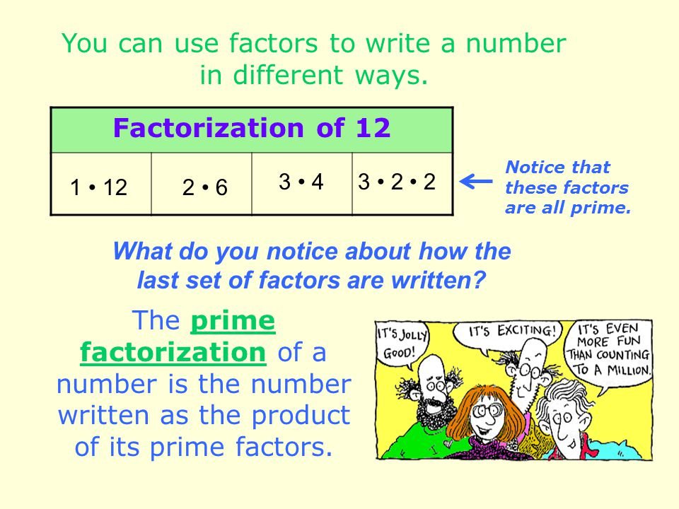 You can use factors to write a number in different ways. Factorization of 12 2 61 12 3 43 2 2 The prime factorization of a number is the number writte