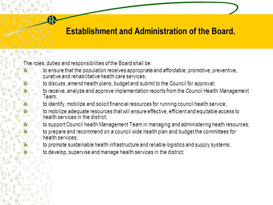 Establishment and Administration of the Board.