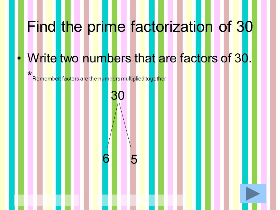 Find the prime factorization of 30 Determine if the first number is prime or composite.