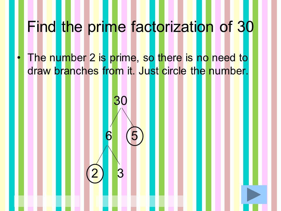 Find the prime factorization. 1)34 2)75 3)28 4)120 5)225 6)16