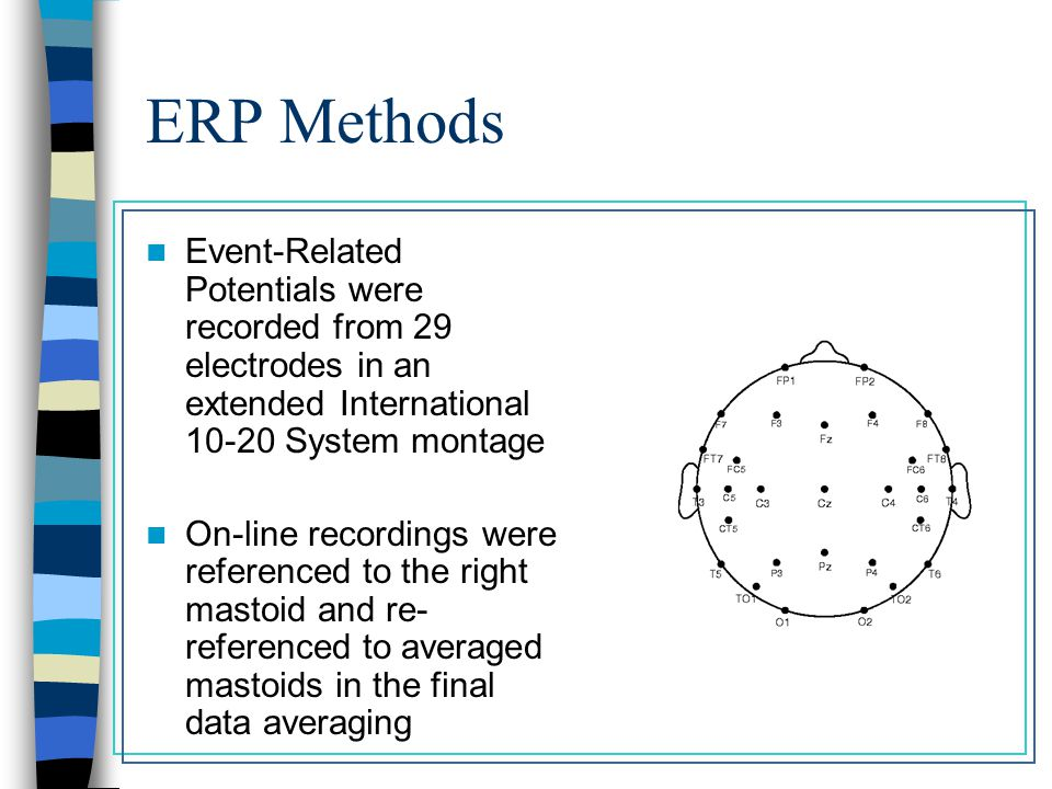 ERP Methods Event-Related Potentials were recorded from 29 electrodes in an extended International 10-20 System montage On-line recordings were referenced to the right mastoid and re- referenced to averaged mastoids in the final data averaging