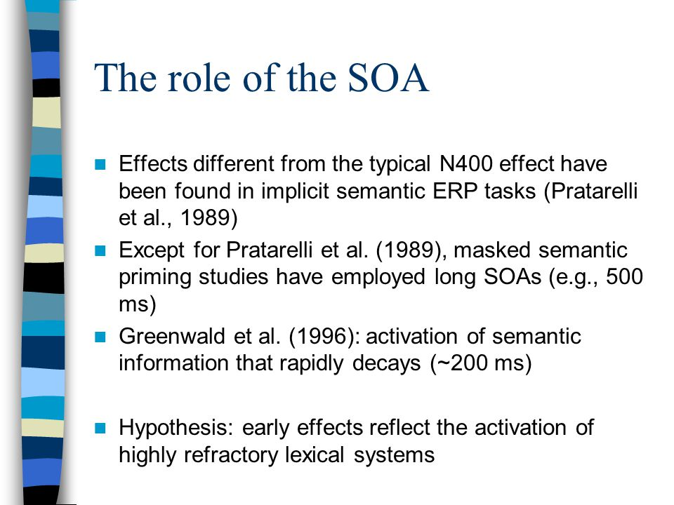 The role of the SOA Effects different from the typical N400 effect have been found in implicit semantic ERP tasks (Pratarelli et al., 1989) Except for Pratarelli et al.