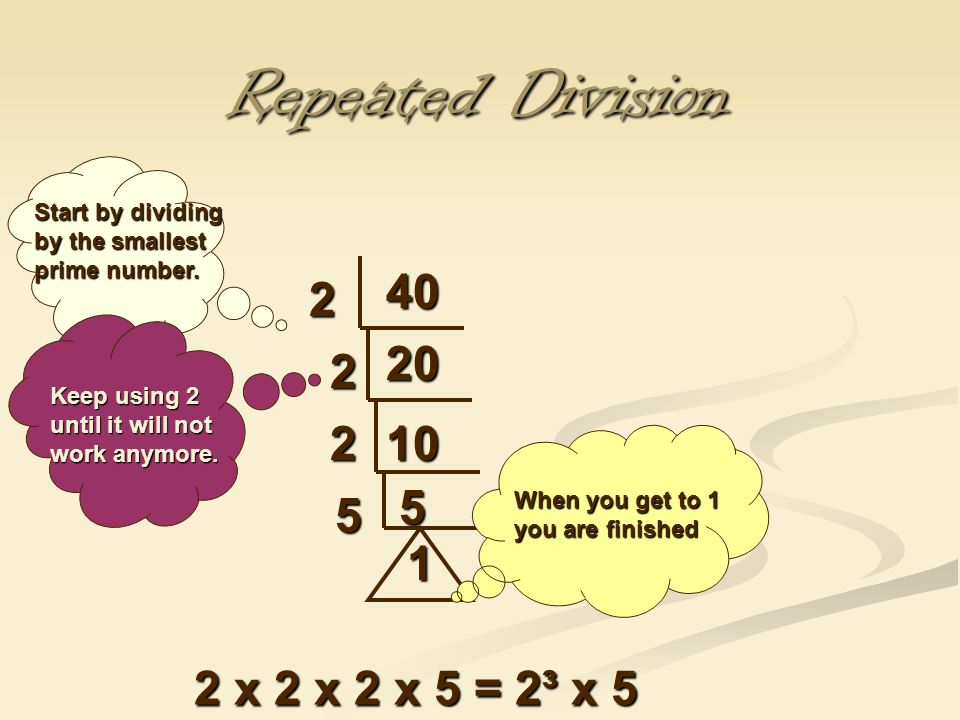Repeated Division 40 2 Start by dividing by the smallest prime number.