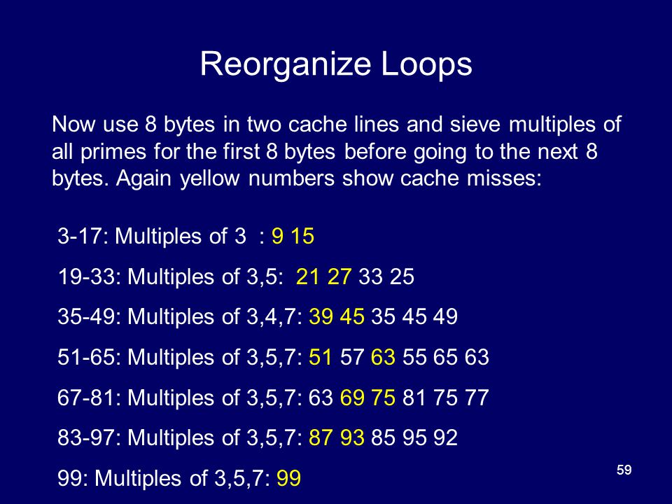 59 Reorganize Loops Now use 8 bytes in two cache lines and sieve multiples of all primes for the first 8 bytes before going to the next 8 bytes. Again