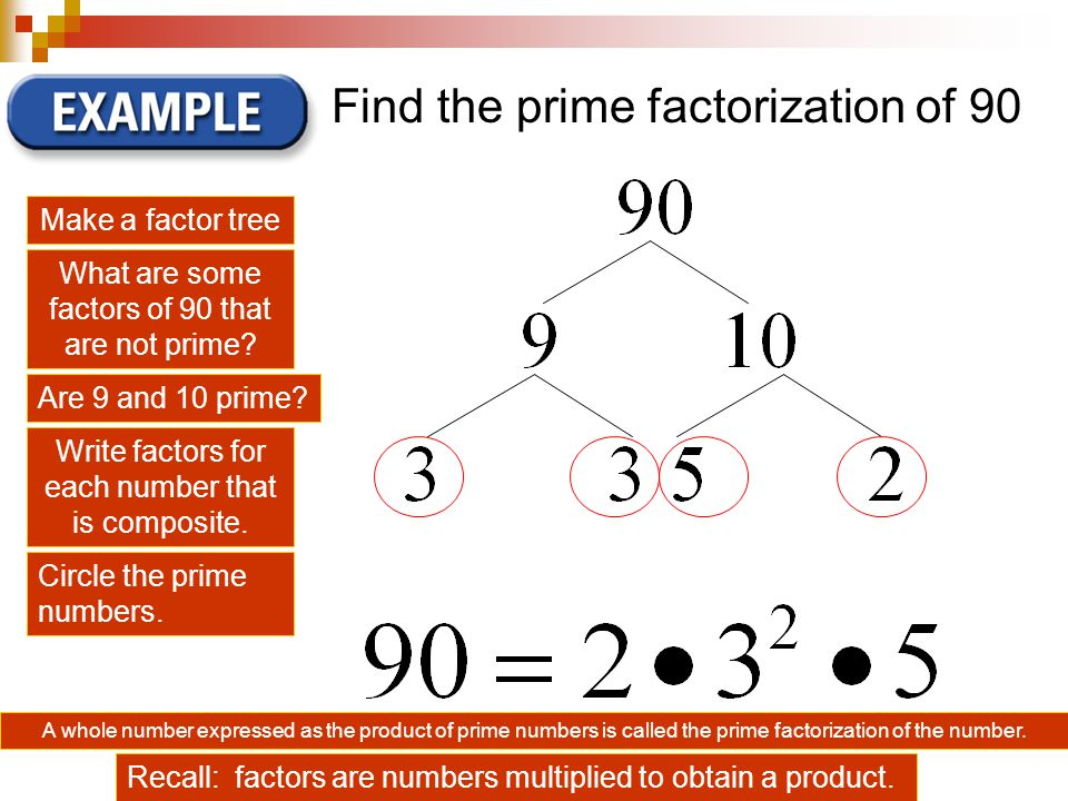Find the prime factorization of 90 Make a factor tree What are some factors of 90 that are not prime.