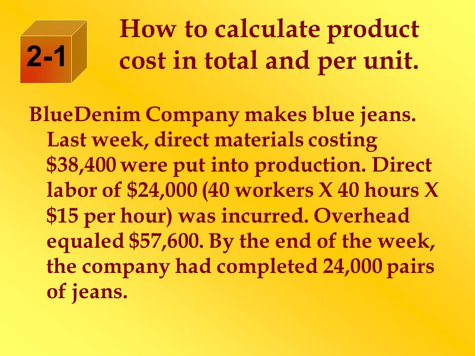 How to calculate product cost in total and per unit.