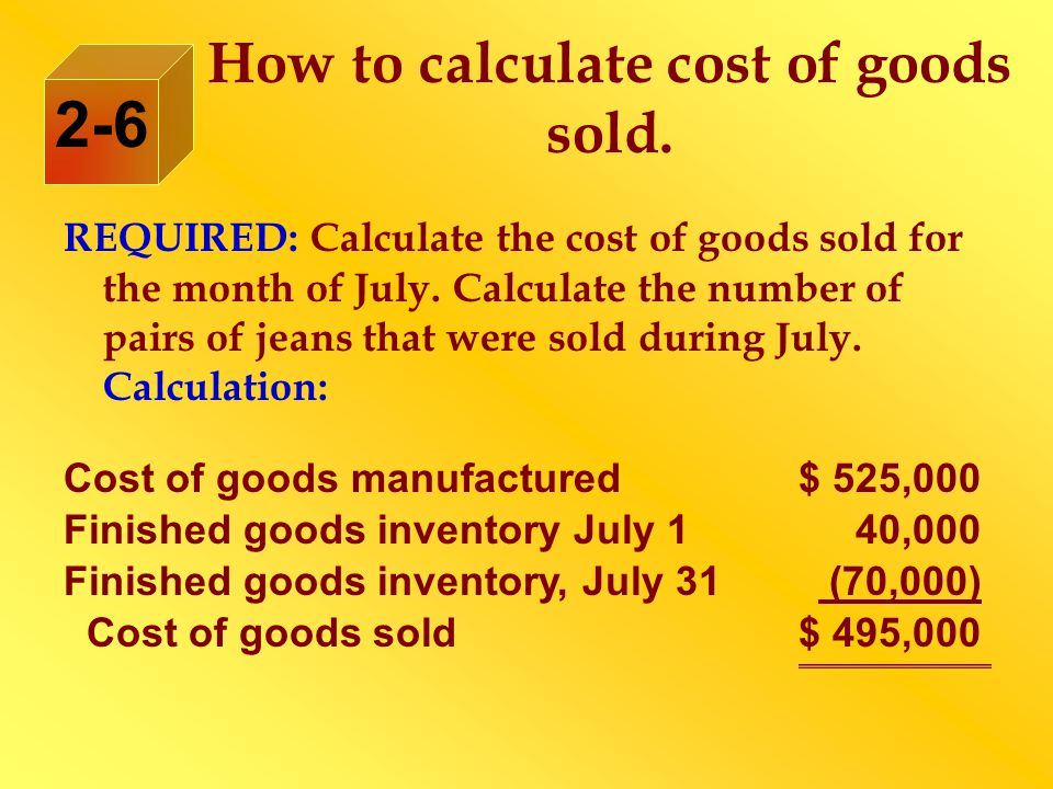 How to calculate cost of goods sold.