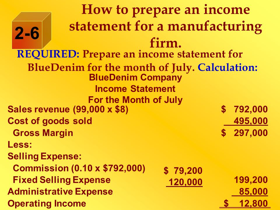 How to prepare an income statement for a manufacturing firm.