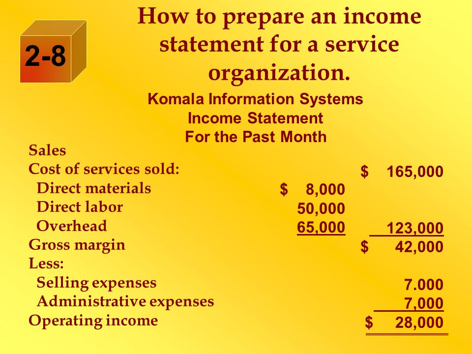 How to prepare an income statement for a service organization.