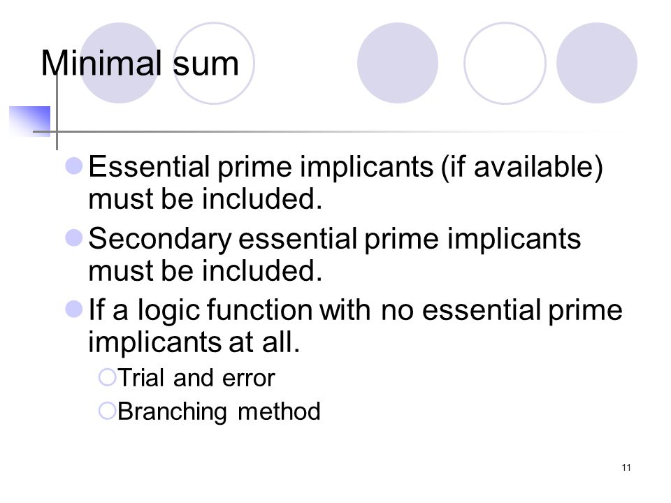 11 Minimal sum Essential prime implicants (if available) must be included. Secondary essential prime implicants must be included. If a logic function