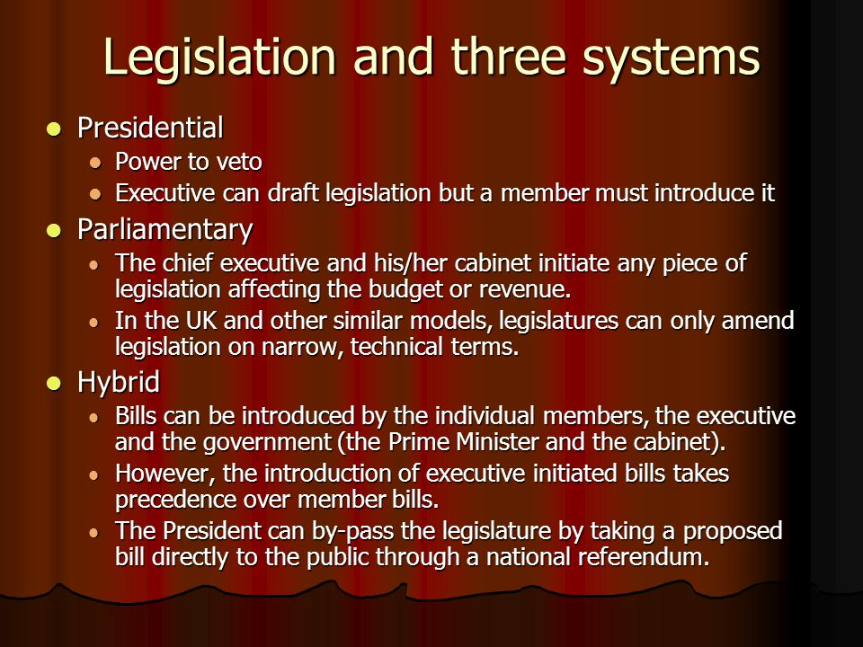 Legislation and three systems Presidential Presidential Power to veto Power to veto Executive can draft legislation but a member must introduce it Exe