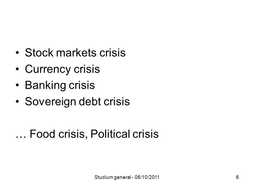 6 Stock markets crisis Currency crisis Banking crisis Sovereign debt crisis … Food crisis, Political crisis