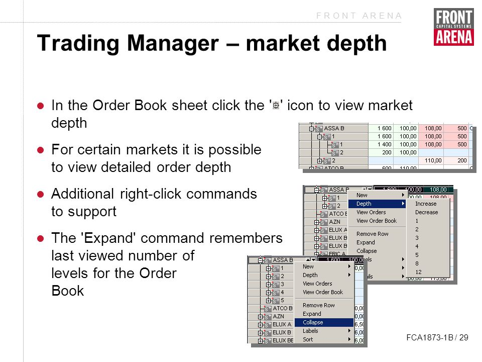 F R O N T A R E N A FCA1873-1B / 29 Trading Manager – market depth In the Order Book sheet click the icon to view market depth For certain markets it is possible to view detailed order depth Additional right-click commands to support The Expand command remembers last viewed number of levels for the Order Book