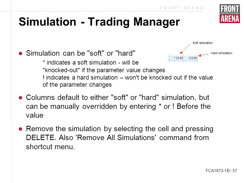 F R O N T A R E N A FCA1873-1B / 57 Simulation - Trading Manager Simulation can be soft or hard * indicates a soft simulation - will be knocked-out if the parameter value changes .
