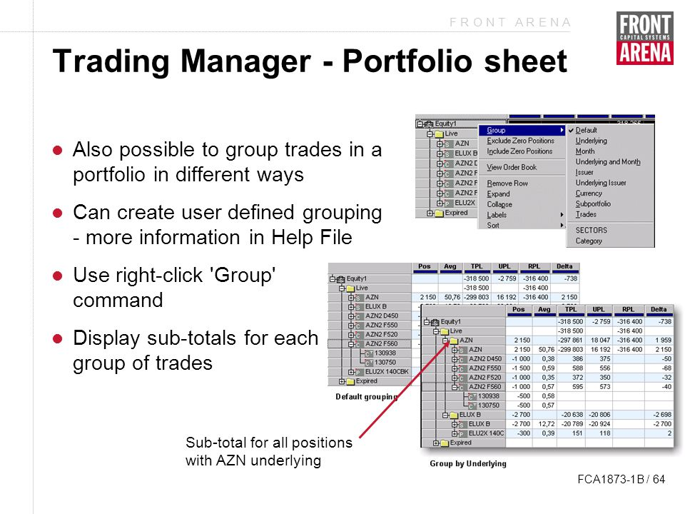 F R O N T A R E N A FCA1873-1B / 64 Trading Manager - Portfolio sheet Also possible to group trades in a portfolio in different ways Can create user defined grouping - more information in Help File Use right-click Group command Display sub-totals for each group of trades Sub-total for all positions with AZN underlying