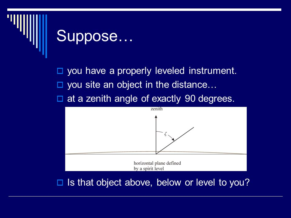 Suppose…  you have a properly leveled instrument.