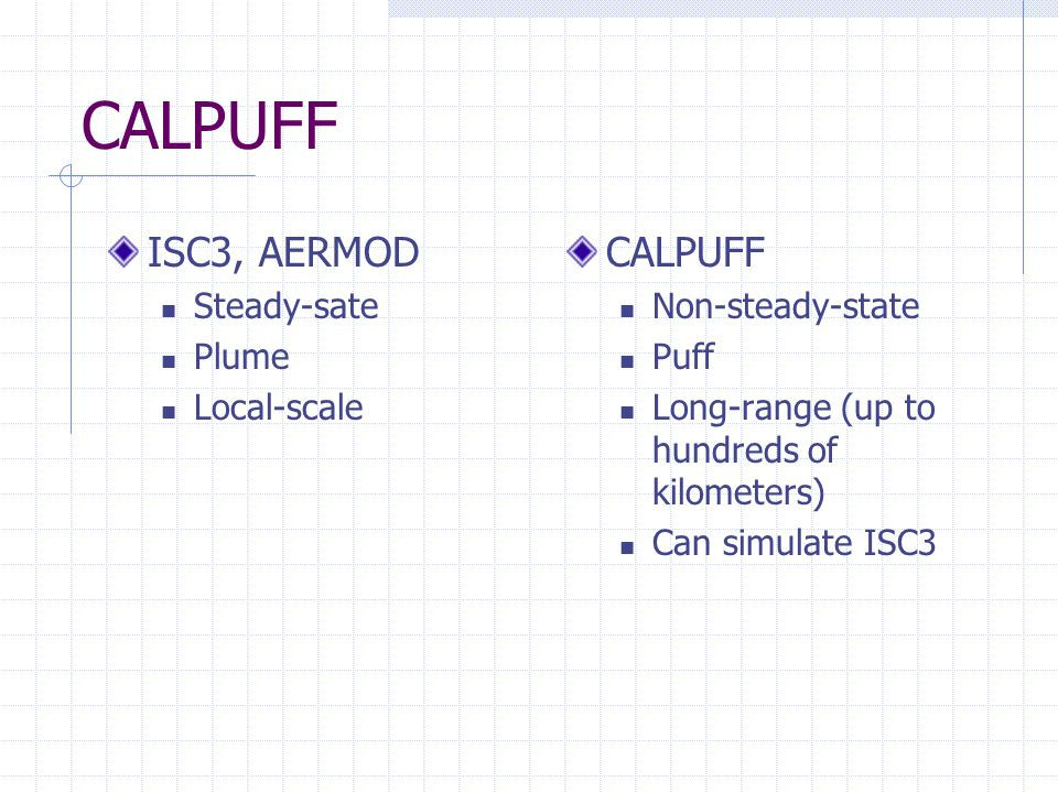 CALPUFF ISC3, AERMOD Steady-sate Plume Local-scale CALPUFF Non-steady-state Puff Long-range (up to hundreds of kilometers) Can simulate ISC3