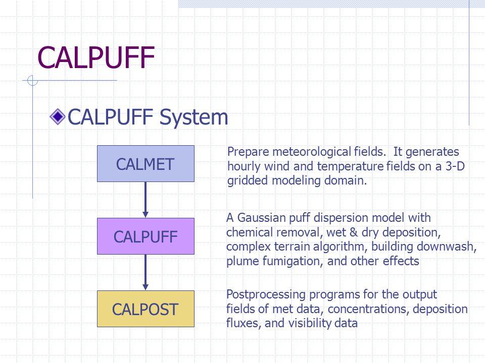 CALPUFF CALPUFF System CALMET CALPUFF CALPOST Prepare meteorological fields. It generates hourly wind and temperature fields on a 3-D gridded modeling