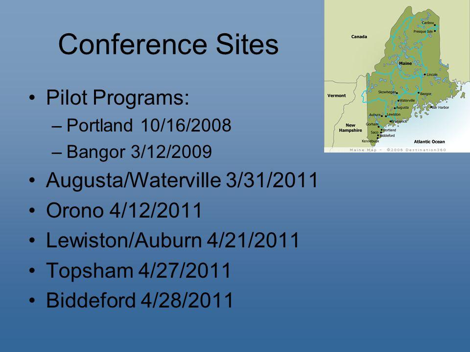 Conference Sites Pilot Programs: –Portland 10/16/2008 –Bangor 3/12/2009 Augusta/Waterville 3/31/2011 Orono 4/12/2011 Lewiston/Auburn 4/21/2011 Topsham 4/27/2011 Biddeford 4/28/2011