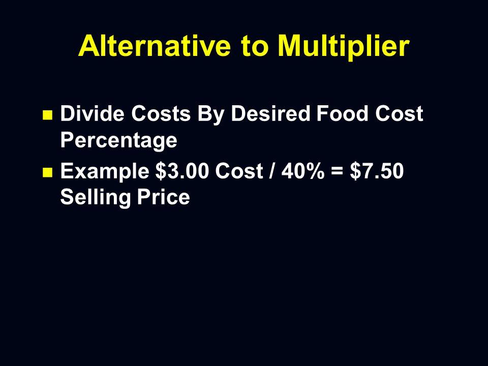 Multiplier n n 1 / Desired Food Cost Percentage n n Example 1 / 40% = 2.5
