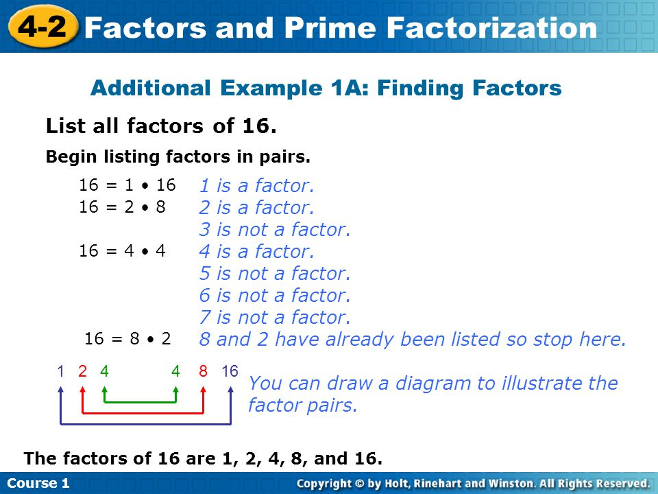 Lesson Quiz List all the factors of each number.1.