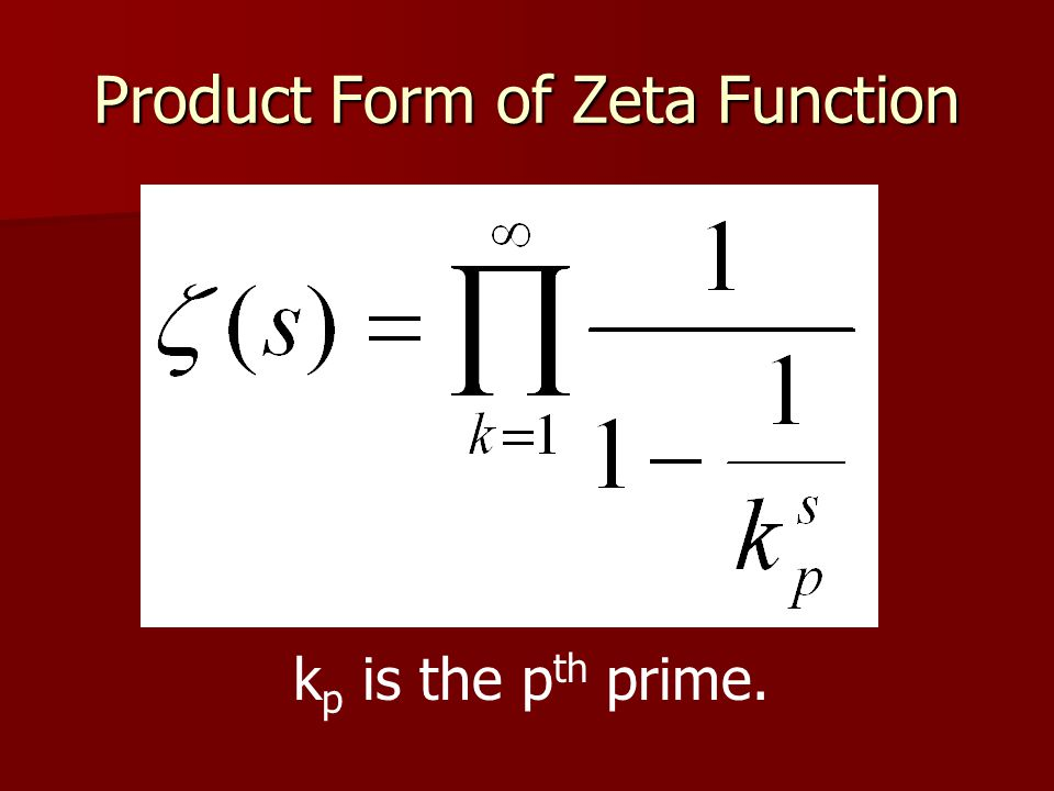 Product Form of Zeta Function k p is the p th prime.