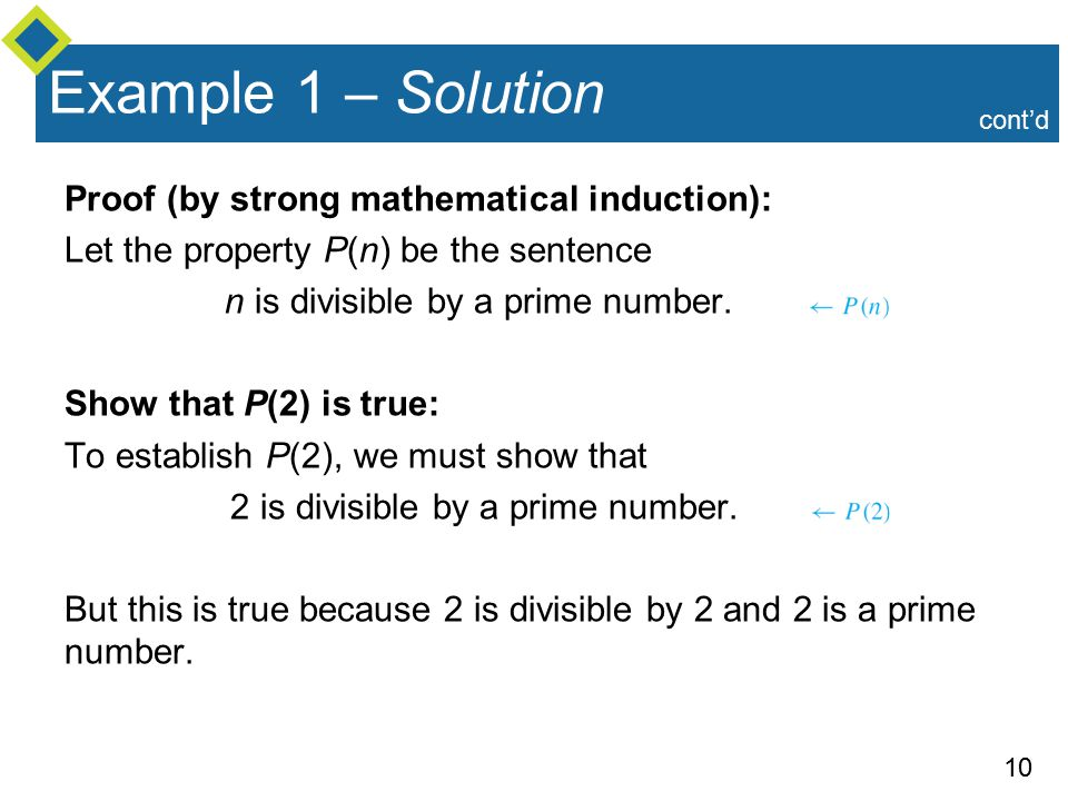 10 Example 1 – Solution Proof (by strong mathematical induction): Let the property P(n) be the sentence n is divisible by a prime number.