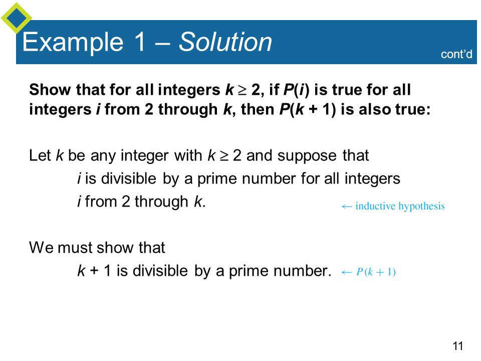 11 Example 1 – Solution Show that for all integers k  2, if P(i ) is true for all integers i from 2 through k, then P(k + 1) is also true: Let k be any integer with k  2 and suppose that i is divisible by a prime number for all integers i from 2 through k.