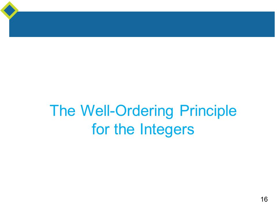 16 The Well-Ordering Principle for the Integers