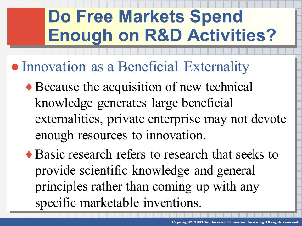 Copyright© 2003 Southwestern/Thomson Learning All rights reserved. Do Free Markets Spend Enough on R&D Activities? ●Innovation as a Beneficial Externa