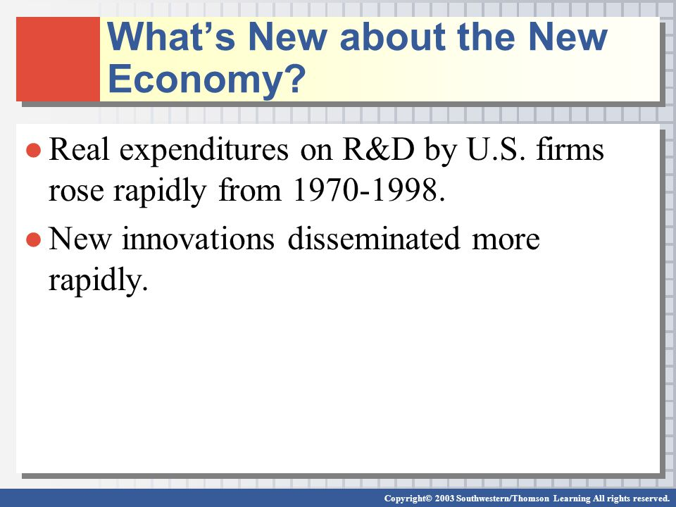 Copyright© 2003 Southwestern/Thomson Learning All rights reserved. What's New about the New Economy? ●Real expenditures on R&D by U.S. firms rose rapi