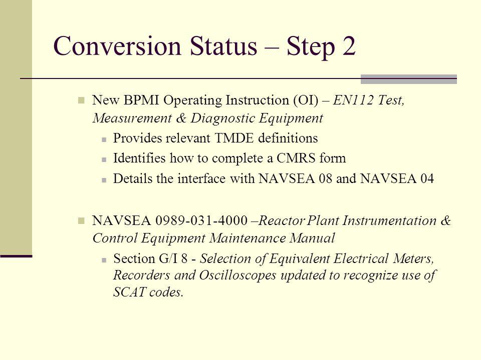 Conversion Status – Step 2 New BPMI Operating Instruction (OI) – EN112 Test, Measurement & Diagnostic Equipment Provides relevant TMDE definitions Ide