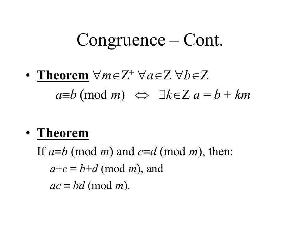 Congruence – Cont.