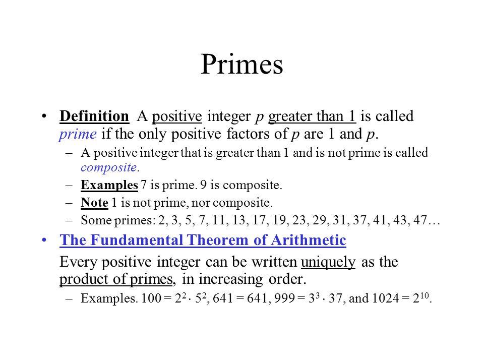 Primes – Cont.