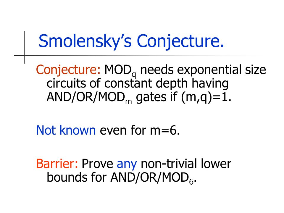 Smolensky's Conjecture.