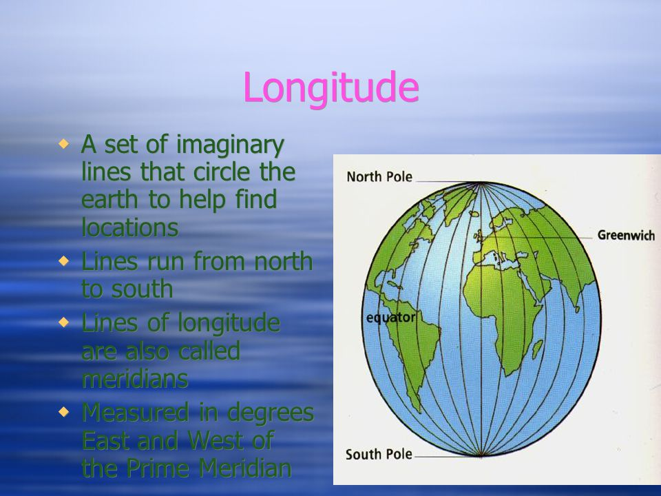 Latitude  A set of imaginary lines that circle the earth to help find locations  Lines run from east to west  Lines of latitude are also called parallels  Measured in degrees North and South of the Equator  A set of imaginary lines that circle the earth to help find locations  Lines run from east to west  Lines of latitude are also called parallels  Measured in degrees North and South of the Equator