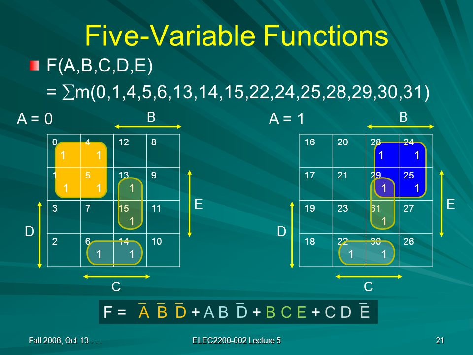 Five-Variable Functions F(A,B,C,D,E) =  m(0,1,4,5,6,13,14,15,22,24,25,28,29,30,31) Fall 2008, Oct 13...