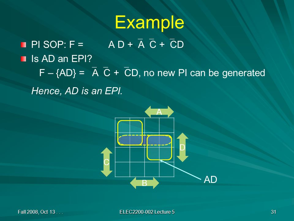 Example PI SOP: F = A D +  A  C +  CD Is AD an EPI.