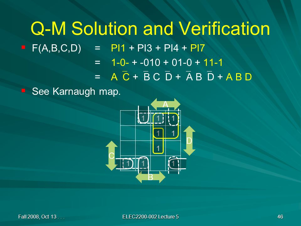 Q-M Solution and Verification   F(A,B,C,D) =PI1 + PI3 + PI4 + PI7 =1-0- + -010 + 01-0 + 11-1 =A  C +  B C  D +  A B  D + A B D   See Karnaugh map.