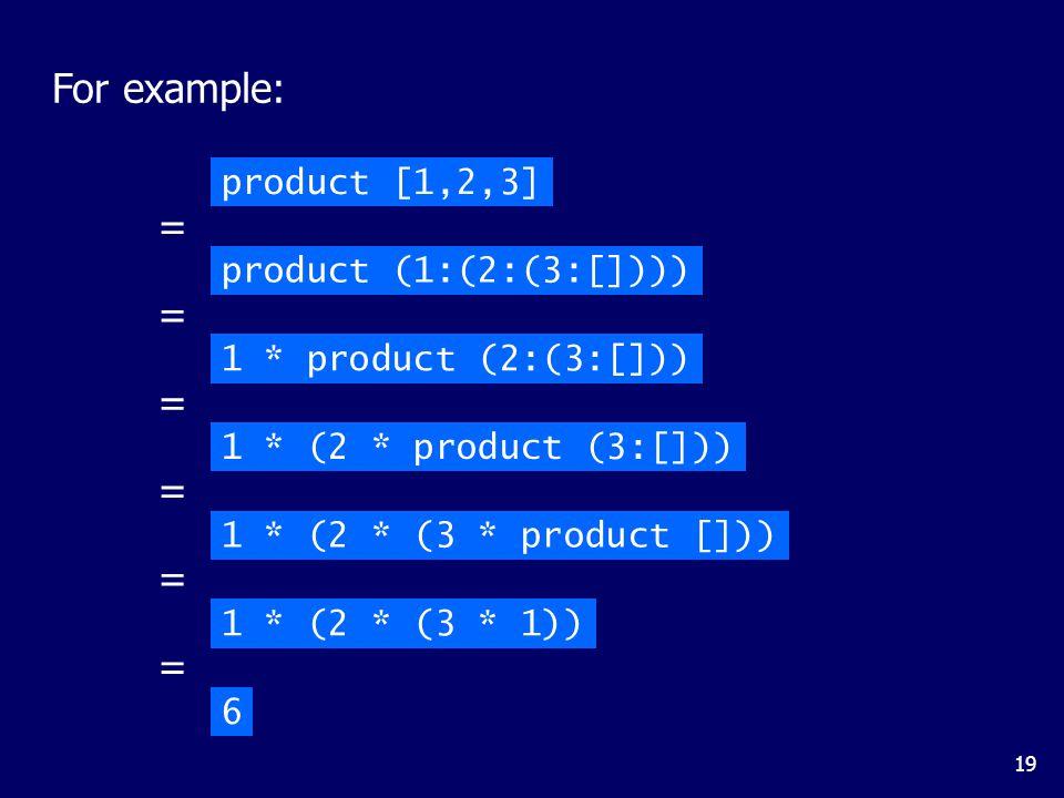 19 For example: product [1,2,3] product (1:(2:(3:[]))) = 1 * product (2:(3:[])) = 1 * (2 * product (3:[])) = 1 * (2 * (3 * product [])) = 1 * (2 * (3 * 1)) = 6 =