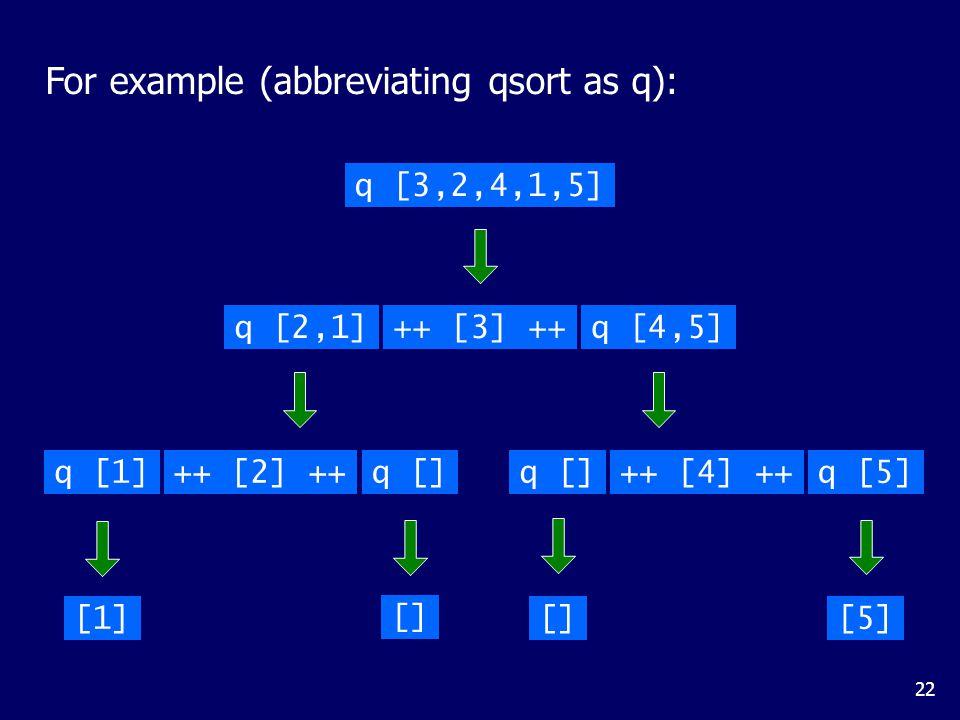 22 For example (abbreviating qsort as q): q [3,2,4,1,5] q [2,1]++ [3] ++q [4,5] q [1]q []++ [2] ++q []q [5]++ [4] ++ [1] [] [5]