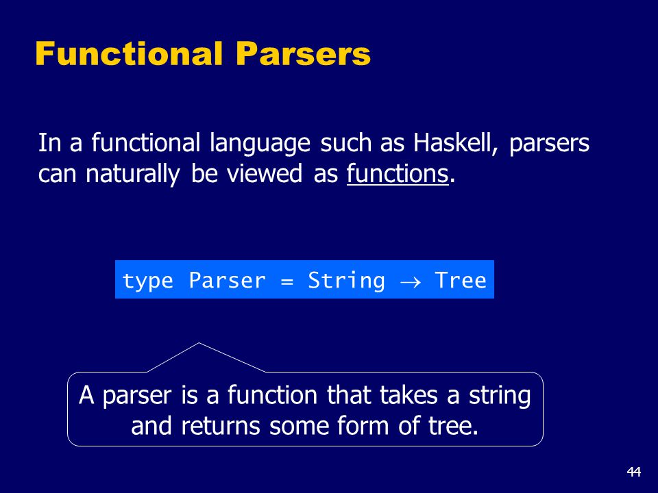 44 Functional Parsers In a functional language such as Haskell, parsers can naturally be viewed as functions. type Parser = String  Tree A parser is