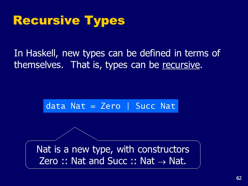 62 Recursive Types In Haskell, new types can be defined in terms of themselves. That is, types can be recursive. data Nat = Zero | Succ Nat Nat is a n
