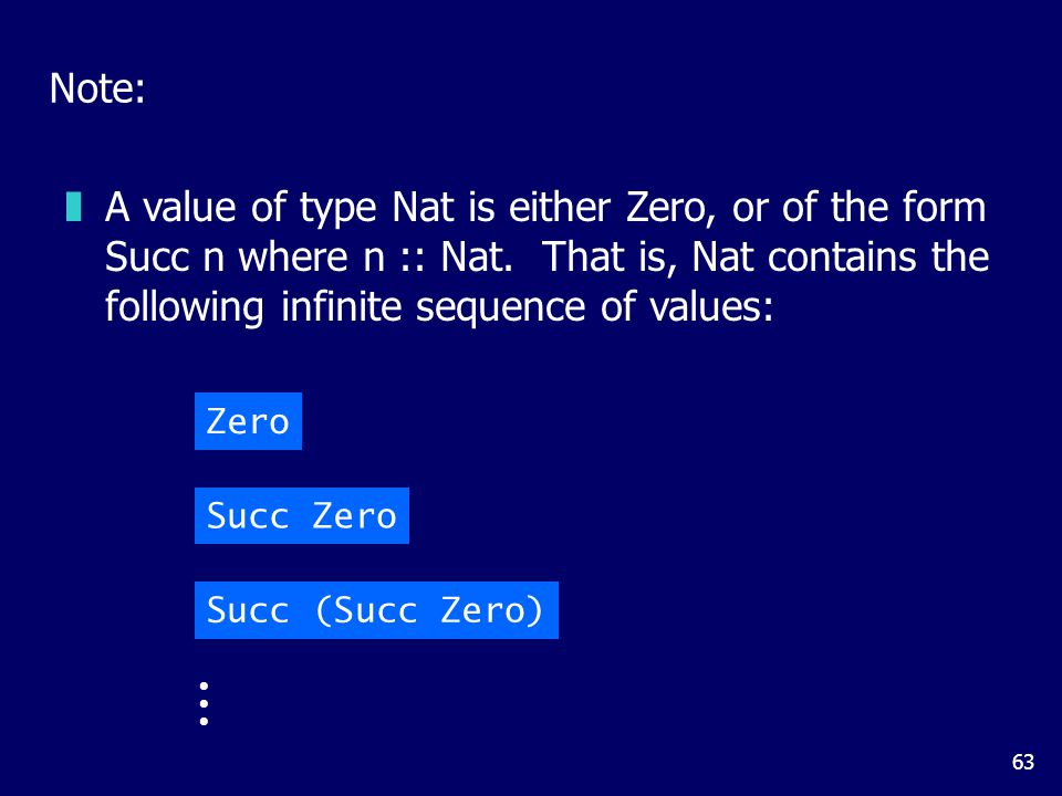 63 Note: zA value of type Nat is either Zero, or of the form Succ n where n :: Nat. That is, Nat contains the following infinite sequence of values: Z